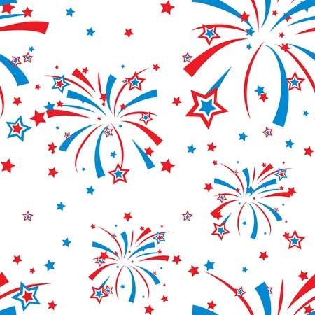 Festive fireworks display seamless background Vector