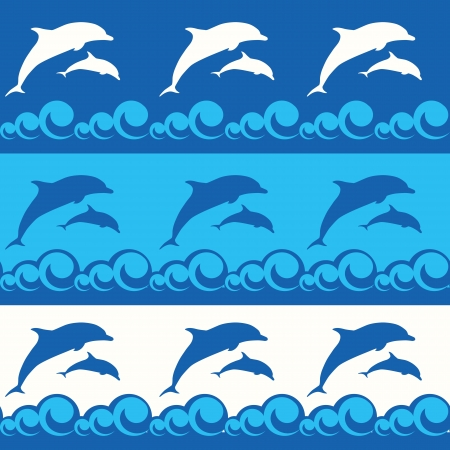 repeated: seamless pattern with dolphins