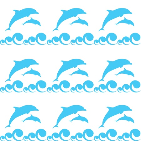 seamless pattern with dolphins Vector