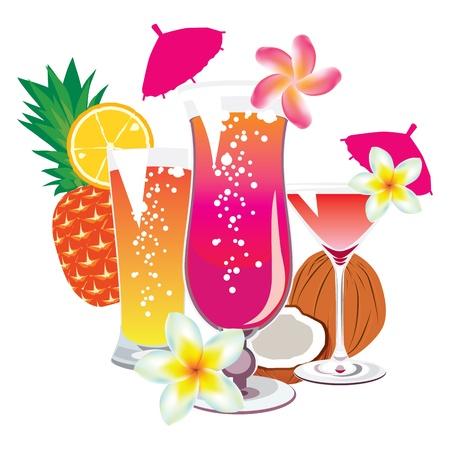 tropical drink: vector de los c�cteles en un fondo blanco