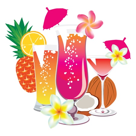 vector of the cocktails on a white background