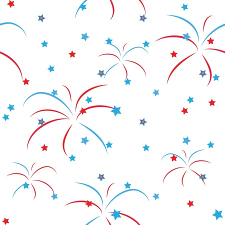 fireworks on white background: Seamless pattern of celebration