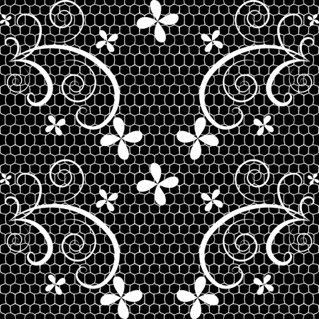 black and white sewing: Seamless lace pattern Illustration