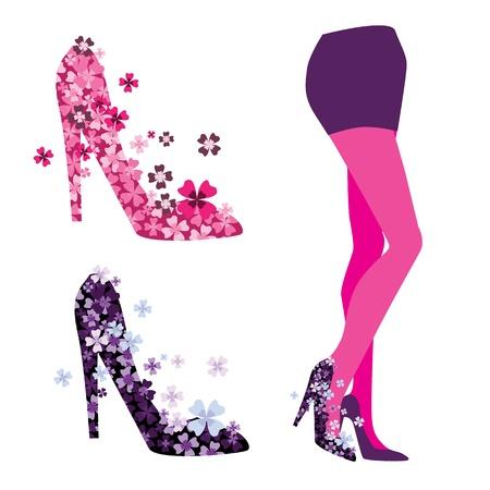 legs stockings: le gambe, le scarpe Vettoriali