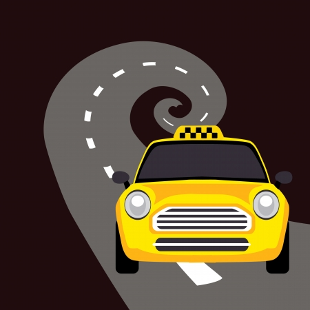 a taxi on the road Vector
