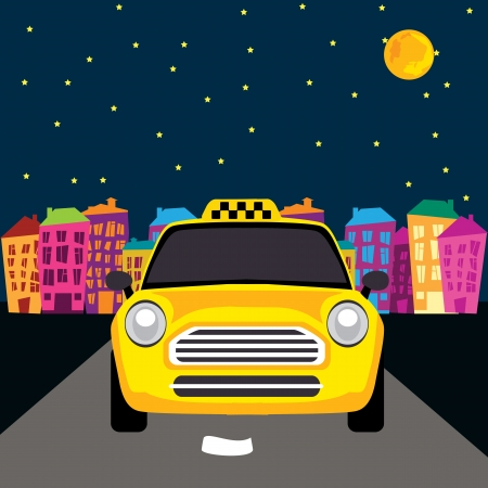 old moon: a taxi on the road