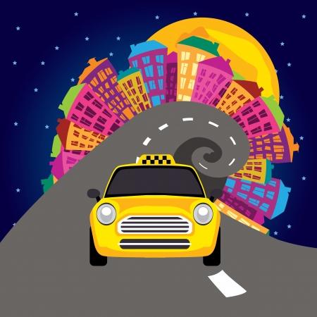 Darstellung Nachtleben in der Stadt und ein Taxi