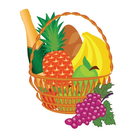 canasta de frutas: una cesta de fruta Vectores