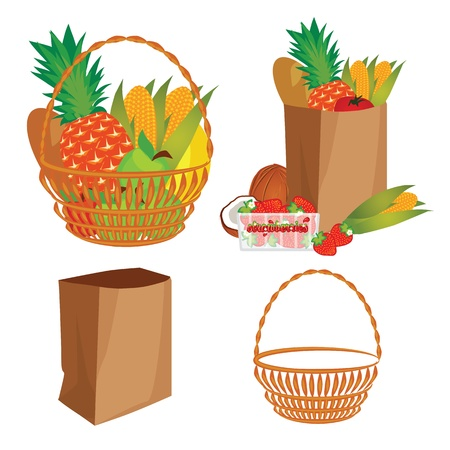 a basket of food Vector