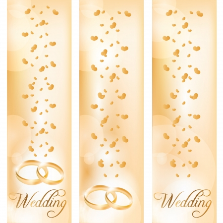Wedding banner with the wedding rings Vector