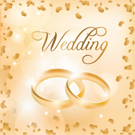 gold woman: Wedding card with wedding rings