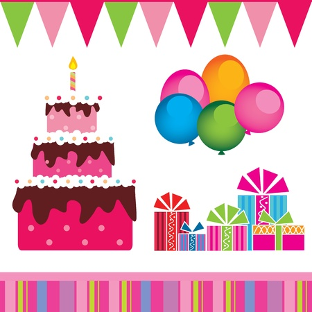 design of the birthday cake, gifts Vector