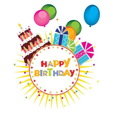 bright cake: Birthday Card