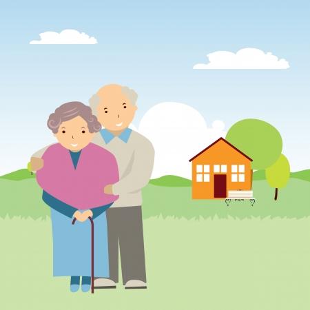 vejez feliz: ilustración vectorial de las personas mayores en la naturaleza Vectores