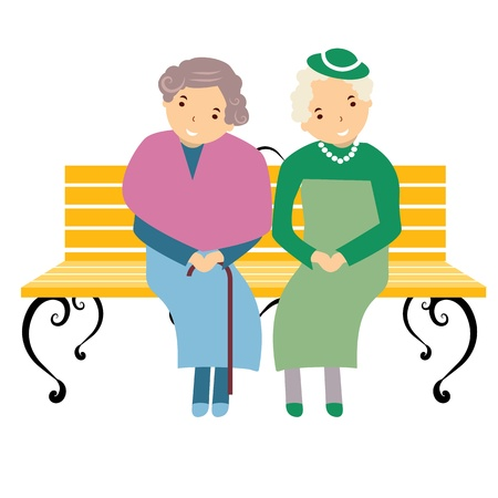 happy old age: vector illustration of the elderly Illustration