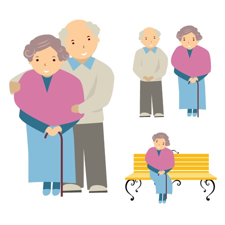 grandfather and grandmother: vector illustration of the elderly Illustration
