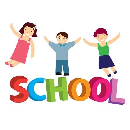 illustration schoolchildren Stock Vector - 14285384