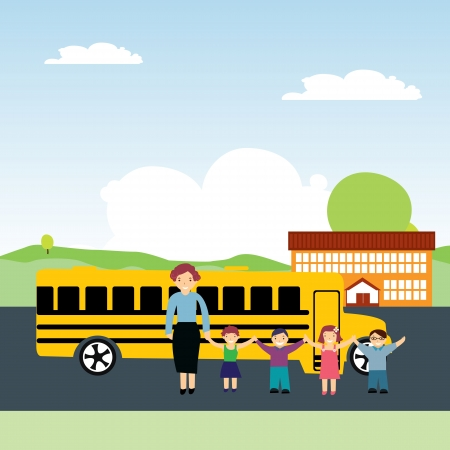 illustration schoolchildren and school bus Vector