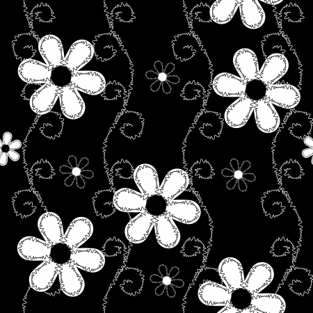 black and white sewing: Seamless pattern of embroidered lace