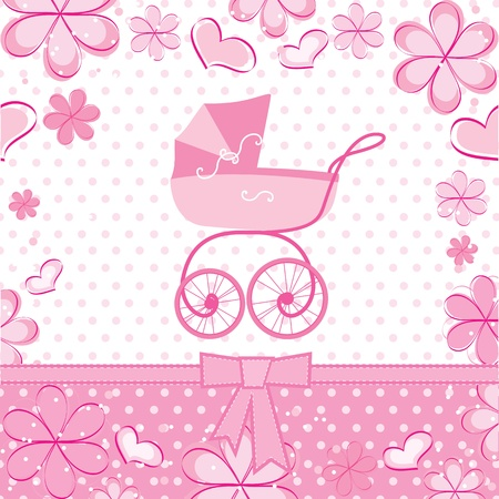baby girl pink: greeting card with a baby carriage