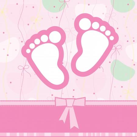 pie bebe: el nacimiento de tarjetas de felicitación Vectores