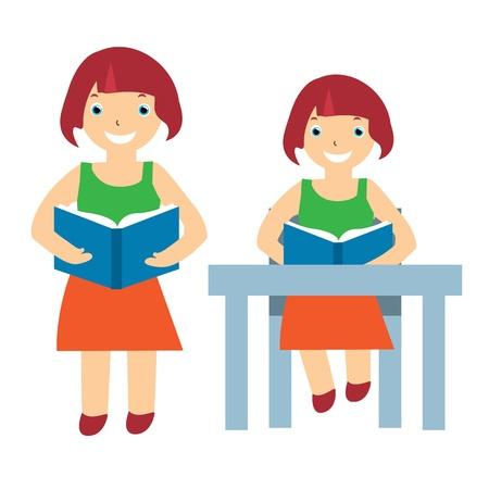Illustration of a girl reading Vector