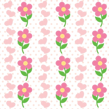 seamless pattern of flowers and heart Vector