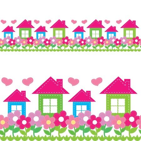 Seamless des maisons et des fleurs Banque d'images - 14387946