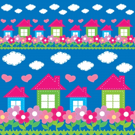 sewing pattern: seamless pattern of the house, flowers, clouds