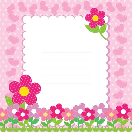 flower card: Background with pink flowers