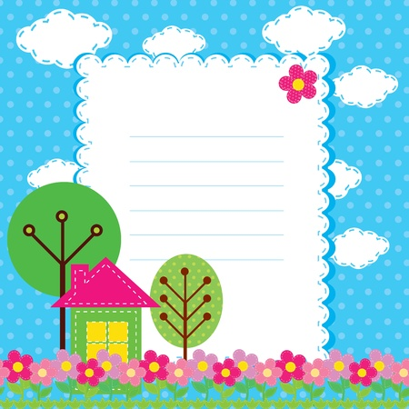 Background with flowers and a home for children Illustration