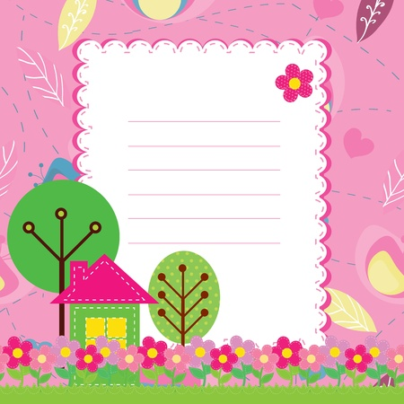 children writing: Background with flowers and a home for children Illustration