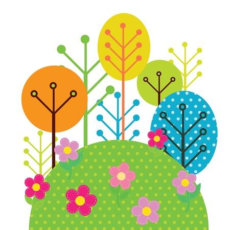 tall trees: Illustration of forest trees Illustration