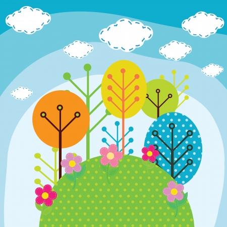 cartoon trees: Illustration of forest trees Illustration