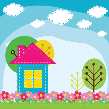 items: vector illustration of a house in the nature Illustration