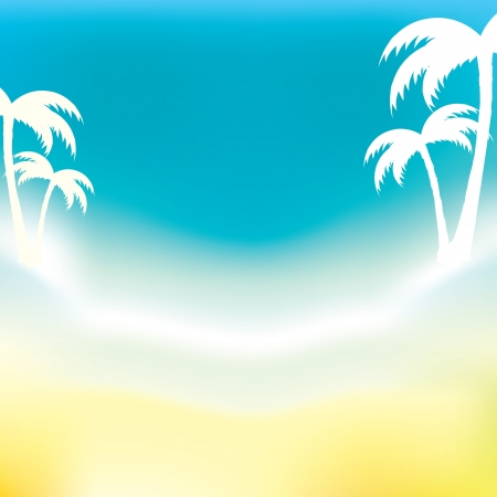 abstract background of sea and palm trees Stock Vector - 14387935