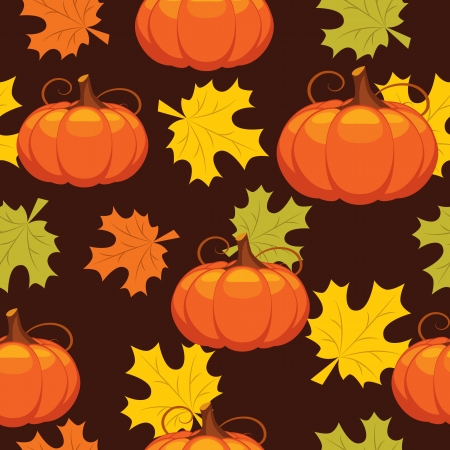 abstract art vegetables: seamless pattern of autumn leaves and pumpkins