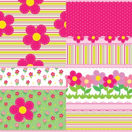 set of backgrounds for a baby girl Vector
