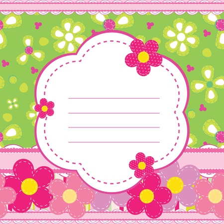 flower banner: Vector background for a baby girl