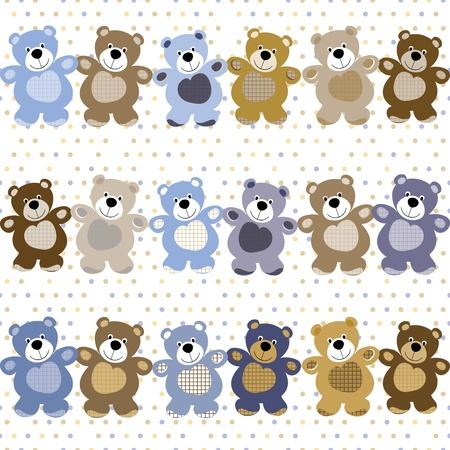 Векторный бесшовный фон из игрушечных плюшевых медведей