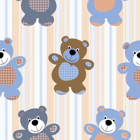 teddy bear: Seamless vector patr�n de un oso de juguete de peluche Vectores