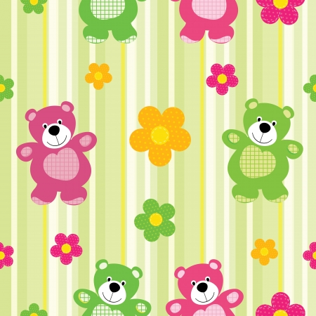 decorative item: Vector seamless pattern of a toy teddy bear