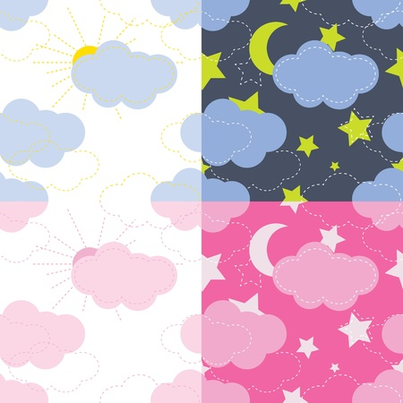 vector seamless pattern of the sky, moon, stars Vector