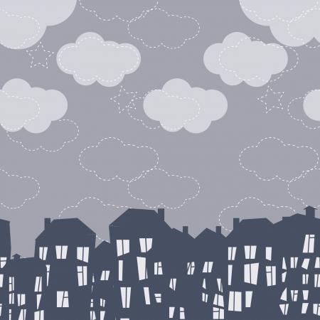 cartoon clouds: Seamless vector patr�n de la ciudad de noche Vectores
