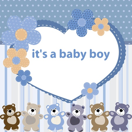 Greeting card with the birth of a baby boy Stock Vector - 14600935