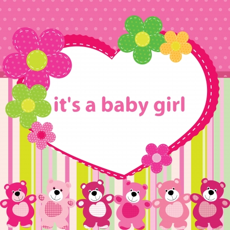 Greeting card with the birth of a baby girl Stock Vector - 14600933