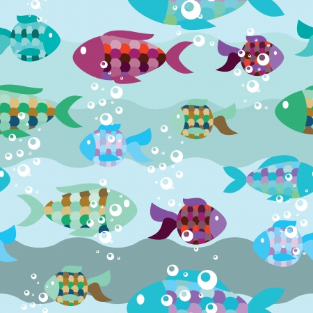 seamless pattern of fish in the sea Vector