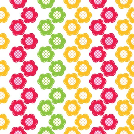applique flower: Seamless pattern with abstract flowers