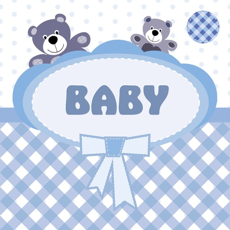 Greeting card with the birth of a baby boy Vector