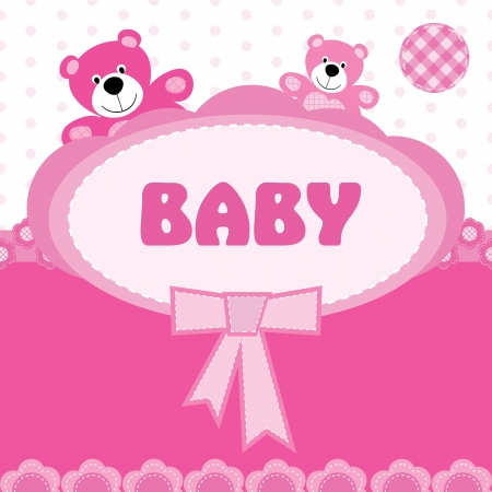 baby toy: Greeting card with the birth of a baby girl Illustration